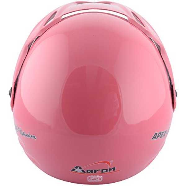 AARON Apex Warrior Plain Open Face Motorbike Helmet (Medium) - Red