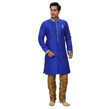 Trustedsnap Banarsi silk Royal Blue sherwani