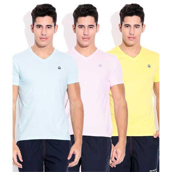 RiverZone-Multicolor Cotton V Neck T- Shirts-Pack os 3