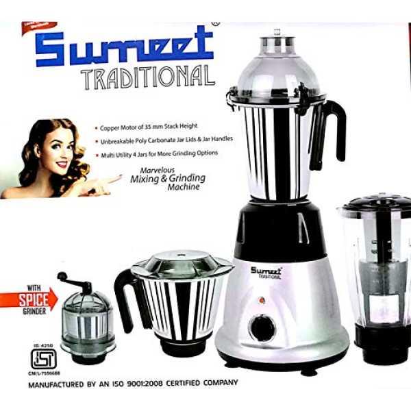 Sumeet Traditional Domestic Plus 2018 750W Mixer Grinder (4 Jars)