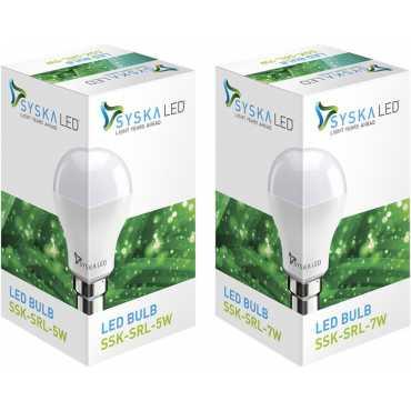 Syska SSK-SRL 5 W, 7 W 6500K Cool Day Light LED Bulb (White, Pack of 2) - White