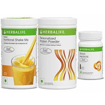 Herbalife Combo Of Nutritional Shake Mix (500gm, Mango), Personalized Protein Powder (400gm), Afresh Energy Drink Mix (50gm, Elaichi)