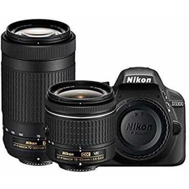 Nikon D3300 DSLR (with 18-55mm and 70-300mm VR Lenses) - Black