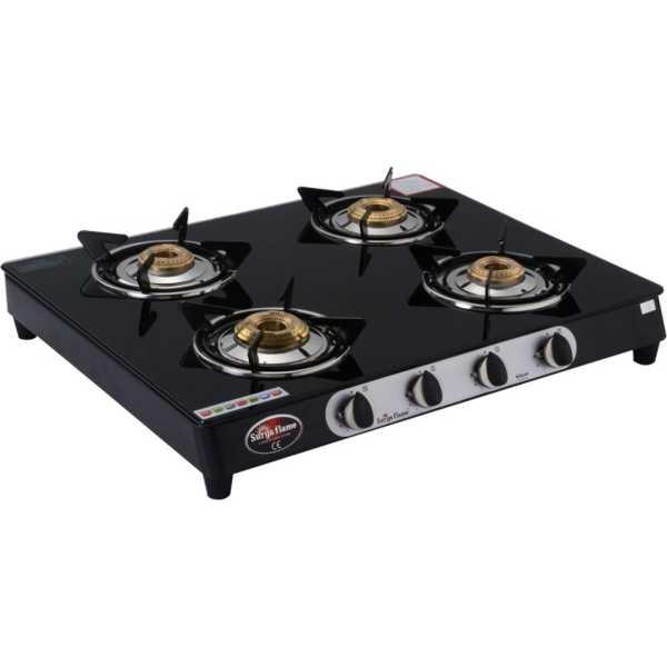 Surya Flame Glaze SFBL-GL-1484B 4 Burner Gas Cooktop