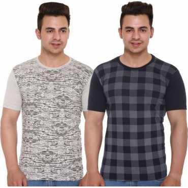 Shaun Printed Men's Round Neck Dark Blue, Grey T-Shirt