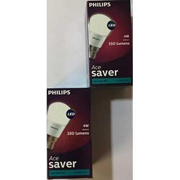 Philips 4W B22 350L LED Bulb (Crystal White, Pack Of 2) - White