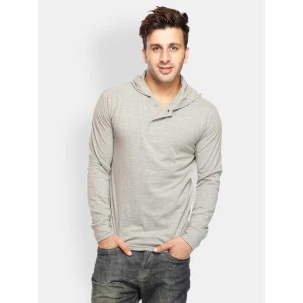 Men Grey Melange Hooded T-shirt