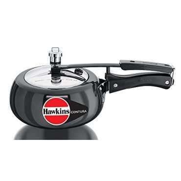 Hawkins Contura 2Ltr Hard Anodised Pressure Cooker (Inner Lid) - Black
