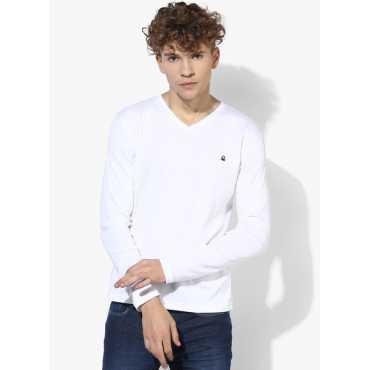 White Solid Slim Fit V Neck T-Shirt