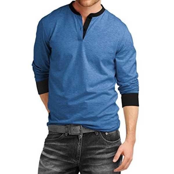 Mens Cotton Premium Full Sleeve Henley T-Shirt_Royal Blue_XXL
