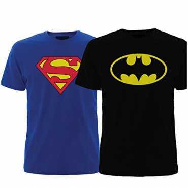 Fashion Men's Cotton T-Shirt (Men-Combo-Superman-Batman_Blue-Black_Medium)