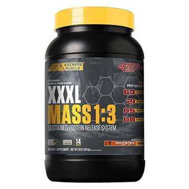Extreme Muscle XXXL Mass 1:3 Protein (3lbs, Chocolate Milk Shake) - Brown