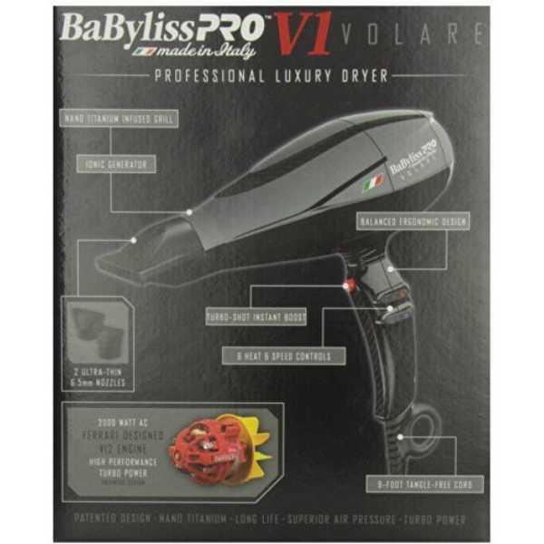 Babyliss Pro BABFV1 (2000W) Volare Hair Dryer - Titanium | Black