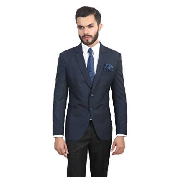 ManQ Blue Slim Fit Formal/Party Men's Blazer