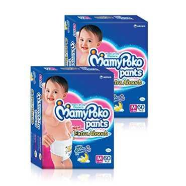 Mamy Poko Pants Diaper Medium 60 Pieces (Pack Of 2)
