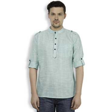 Green Cotton Striped Mens Casual Short Kurta