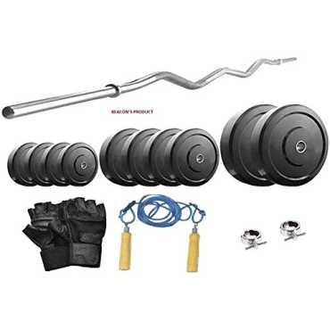 Beacon International 22Kg Home Gym Set (Curl Rod, Gloves,Rope)