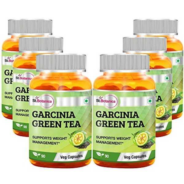 StBotanica Garcinia Green Tea Extract 500 mg (90 Veg Capsules) (Pack of 6) - Green