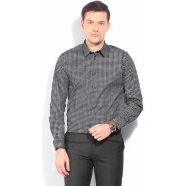 New York Men's Printed Formal Black Shirt