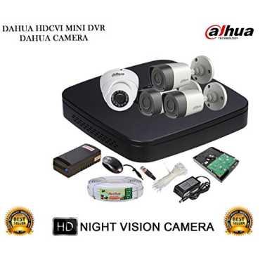 Dahua DH-HCVR4104C-S2 4CH Dvr, 3(DH-HAC-HFW1000RP) Bullet, 1(DH-HAC-HDW1000RP) Dome Cameras (With Accessories,1TB HDD)