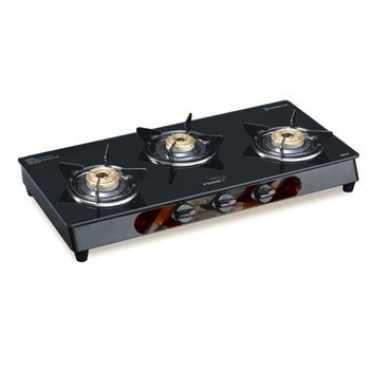 V-Guard VGM 3C Glass Top Gas Stove Cooktop (3 Burners) - Steel | Black