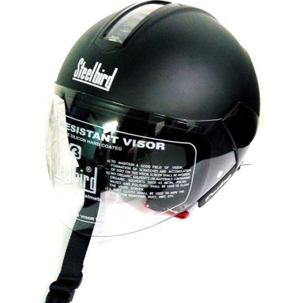 Steelbird SB-35 Cruze Dashing Half Face Helmet (Large) - Black