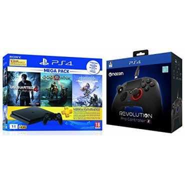 Sony PS4 1 TB Slim Console (God of War/Uncharted 4/Horizon Zero Dawn & Nacon Revolution Pro Controller)