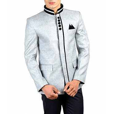 Wintage Men s Rayon Bandhgala Festive Nehru Mandarin Blazer- Silver