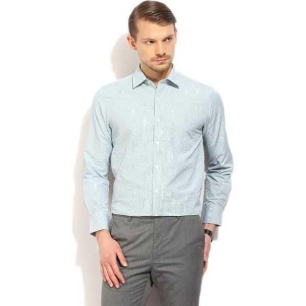 Men's Checkered Formal Green Shirt