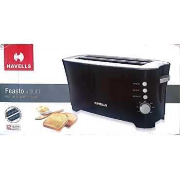 Havells Feasto 1350W 4 Slice Pop Up Toaster - Black