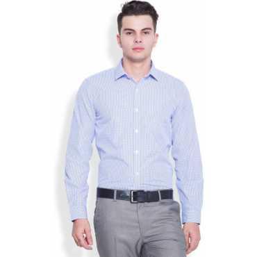 Men's Checkered Formal White, Blue Shirt