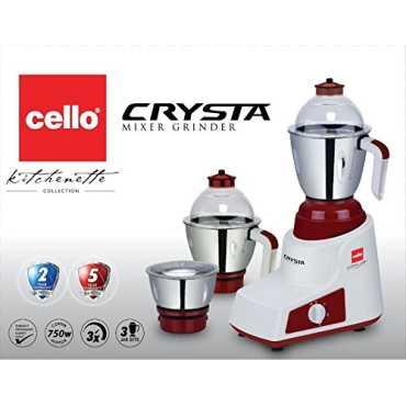 Cello Crysta 750W Mixer Grinder (3 Jars) - Blue | White