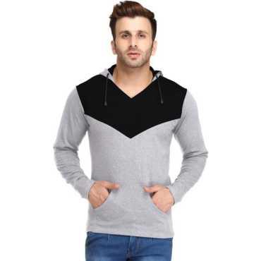 Solid Men s Hooded Black Grey T-Shirt