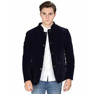 Zacharias Stylish Multipurpose Velvet Blazer For MEN BOYS Blue Large