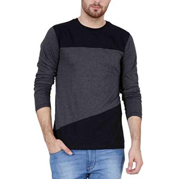 Freak Full Sleeve T Shirt For Men Stylish Cross Pattern Style Grey Black Colour (FF008) (M - 38)