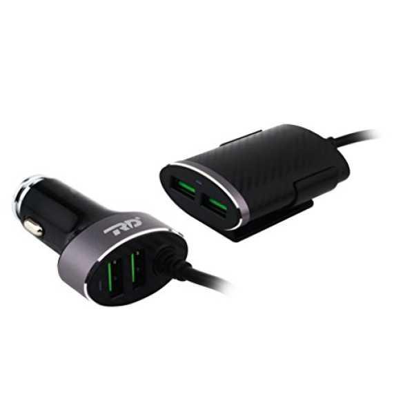 4D Y2 Dual Plug 5.4A 4 USB Port Car Charger - Black
