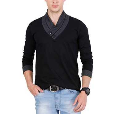 Fashion Freak Full Sleeve T Shirt For Men Stylish V-Neck Cotton Grey Black (FF009) (X-Large)