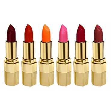 Blue Heaven Xpression Lipstick Combo(R 002 Cherry Red, M 020 Mocha Magic, P 077 Moonlight Pink, MO 161 Matte Orange, CB 028 Iced Cocoa , ON 100 Orange Natural) (Set of 6) - Red