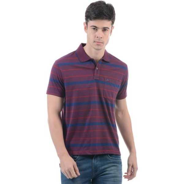 Monte Carlo Striped Men Polo Neck Multicolor T-Shirt