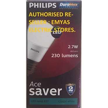 Philips Ace Saver E27 2.7W 230 Lumens LED Bulb (Crystal White, Pack of 3) - White