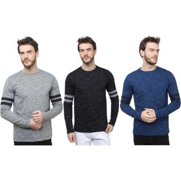 Sayitloud Solid Men Round Neck Grey, Black, Blue T-Shirt