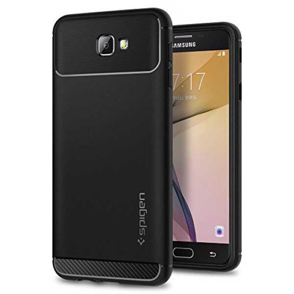 Rugged TPU Flexible Armor Back Case for Samsung Galaxy J7 Prime/Galaxy On Nxt/Galaxy On7 (Black_570CS21002)