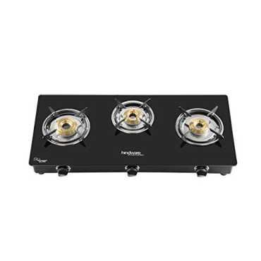 Hindware Brio Stainless Steel Gas Cooktop (3 Burners) - Black