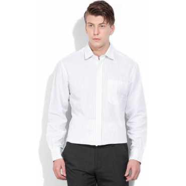 John Players Men's Striped Formal White Shirt