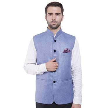 Men s Rayon Bandhgala Festive Blue Nehru Jacket Waistcoat