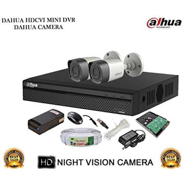 Dahua DH-HCVR4104HS-S2 4CH Dvr, 2(DH-HAC-HFW1000RP) Bullet Cameras
