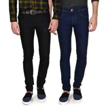 Men's Blue & Black Slim Fit Jeans