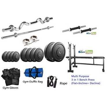 Body Maxx 35 kg (3 Feet Curl Bar/5 Feet Straight Bar and Multipurpose Bench Press)