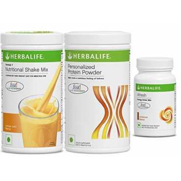 Herbalife Combo Of Nutritional Shake Mix (500gm, Orange Cream), Personalized Protein Powder (400gm), Afresh Energy Drink Mix (50gm, Cinnamon) - Orange