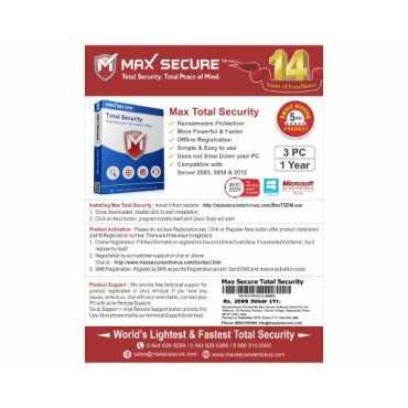 Maxsecure Anti Virus Plus Version 6 10 PC 1 Year Antivirus (Voucher)